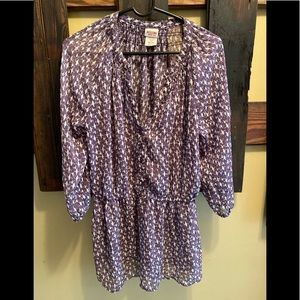Purple and White Bird Sheer Blouse